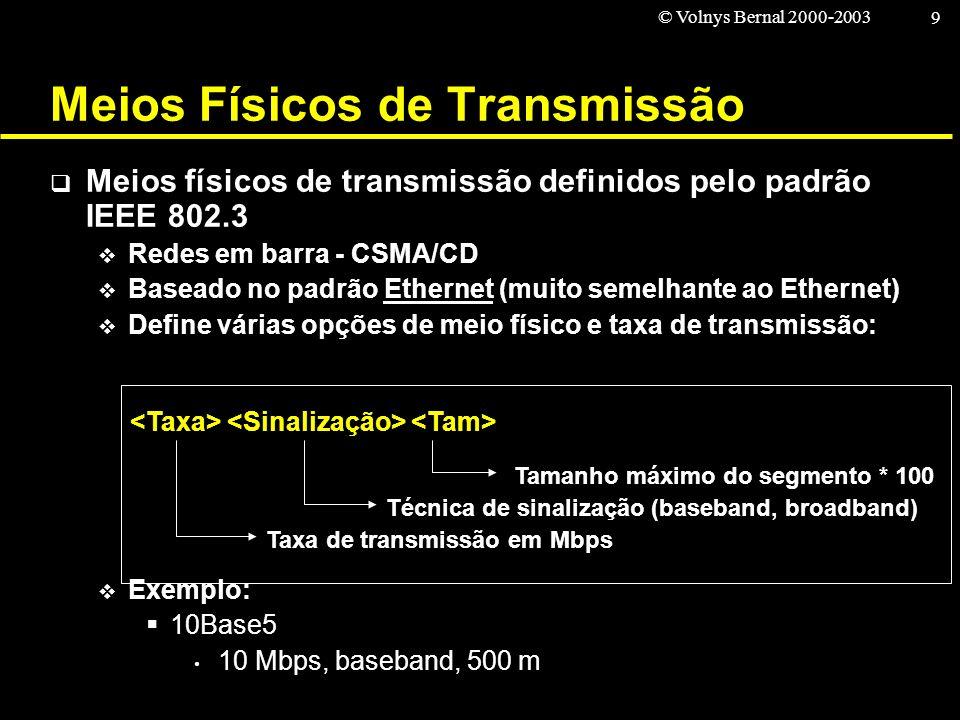 © Volnys Bernal 2000-2003 9 Meios Físicos de Transmissão Meios físicos de transmissão definidos pelo padrão IEEE 802.3 Redes em barra - CSMA/CD Basead