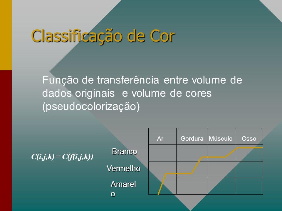 Classificação de Cor Função de transferência entre volume de dados originais e volume de cores (pseudocolorização) C(i,j,k) = C(f(i,j,k)) ArGorduraMúsculoOsso Branco Vermelho Amarel o