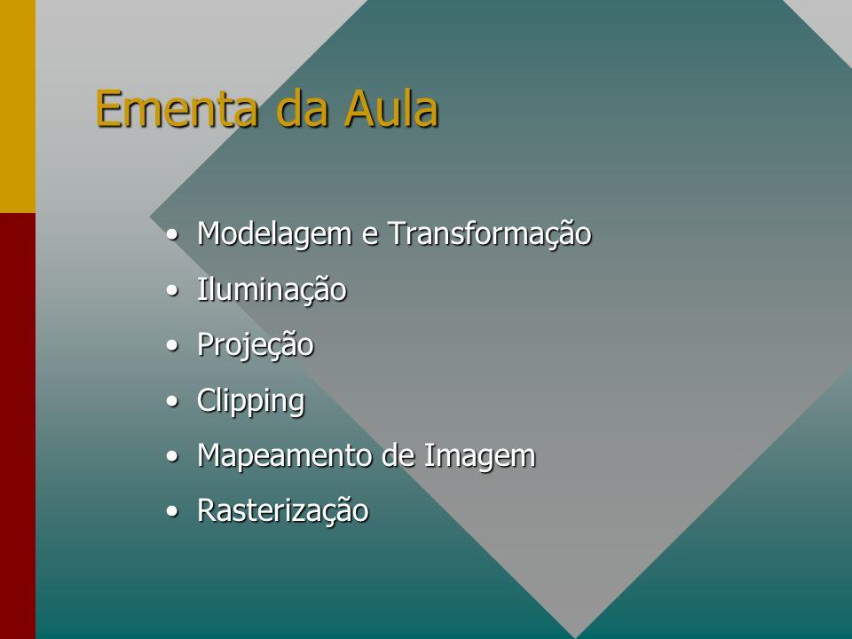 Ementa da Aula Modelagem e TransformaçãoModelagem e Transformação IluminaçãoIluminação ProjeçãoProjeção ClippingClipping Mapeamento de ImagemMapeamento de Imagem RasterizaçãoRasterização
