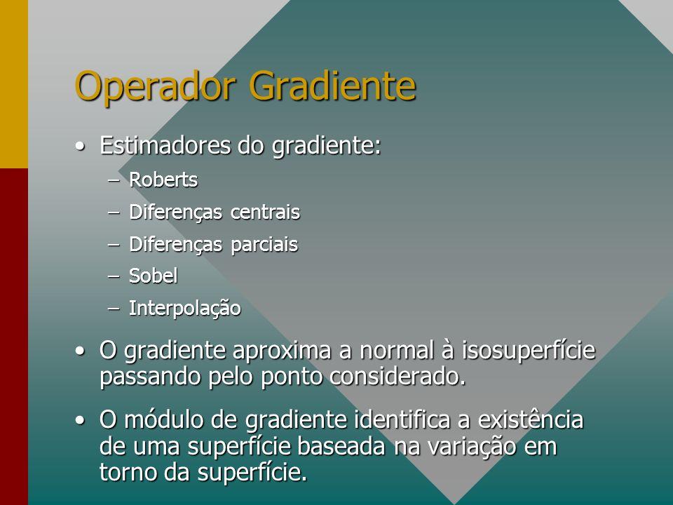 Estimadores do gradiente:Estimadores do gradiente: –Roberts –Diferenças centrais –Diferenças parciais –Sobel –Interpolação O gradiente aproxima a normal à isosuperfície passando pelo ponto considerado.O gradiente aproxima a normal à isosuperfície passando pelo ponto considerado.