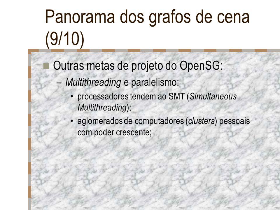 Panorama dos grafos de cena (9/10) Outras metas de projeto do OpenSG: – Multithreading e paralelismo: processadores tendem ao SMT ( Simultaneous Multi