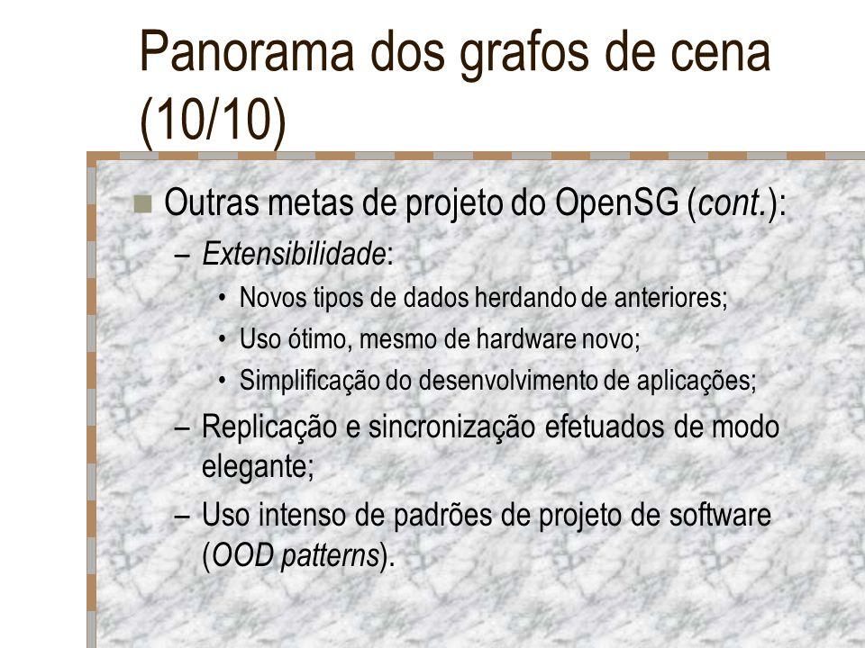 Panorama dos grafos de cena (10/10) Outras metas de projeto do OpenSG ( cont. ): – Extensibilidade : Novos tipos de dados herdando de anteriores; Uso
