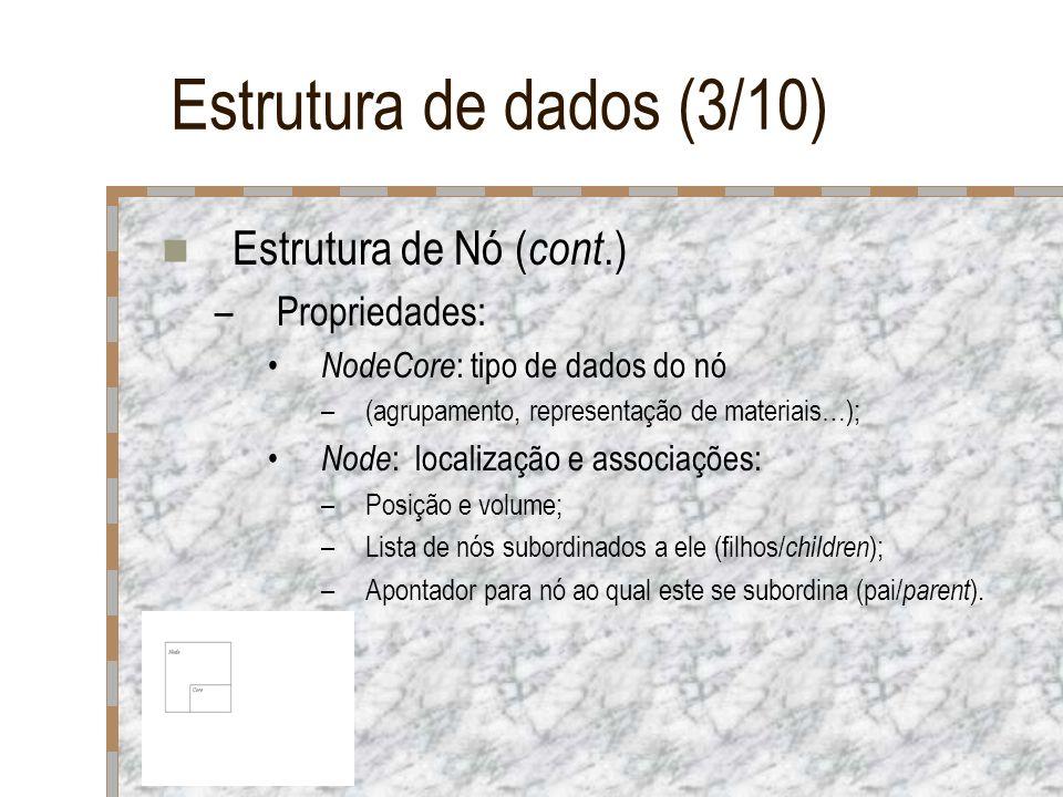 Estrutura de dados (3/10) Estrutura de Nó ( cont.) –Propriedades: NodeCore : tipo de dados do nó –(agrupamento, representação de materiais…); Node : l