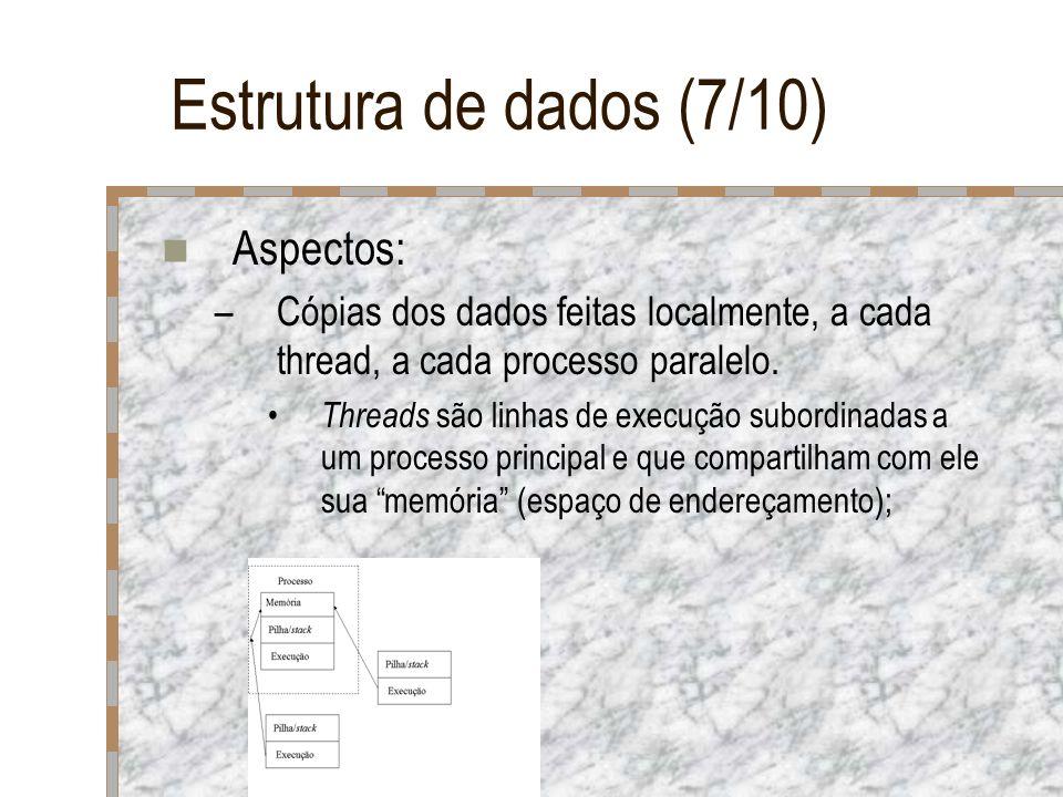 Estrutura de dados (7/10) Aspectos: –Cópias dos dados feitas localmente, a cada thread, a cada processo paralelo. Threads são linhas de execução subor