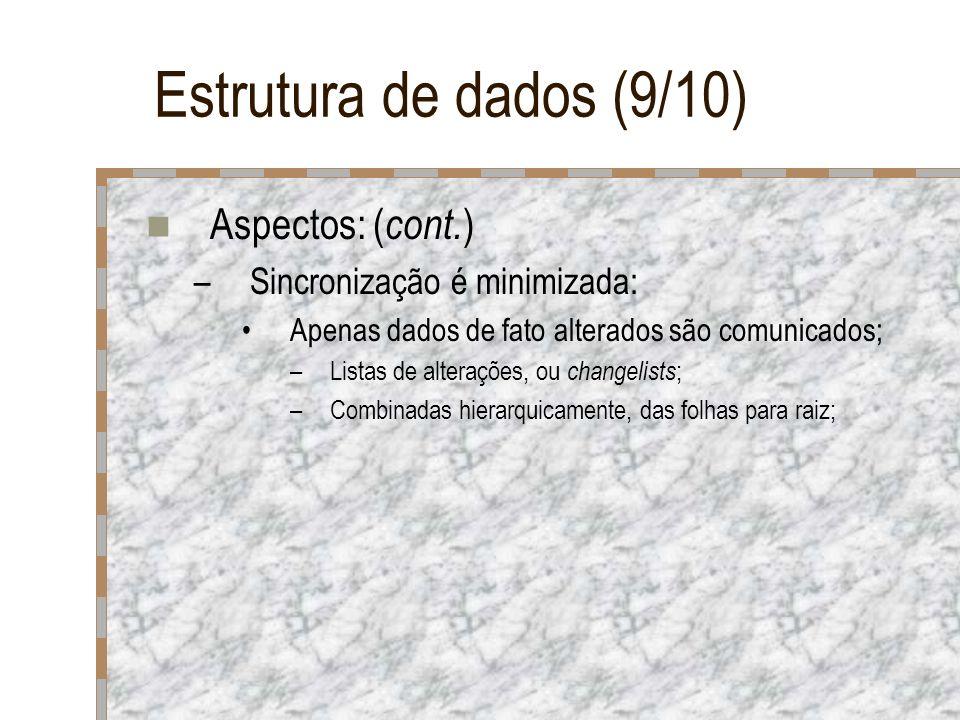 Estrutura de dados (9/10) Aspectos: ( cont. ) –Sincronização é minimizada: Apenas dados de fato alterados são comunicados; –Listas de alterações, ou c