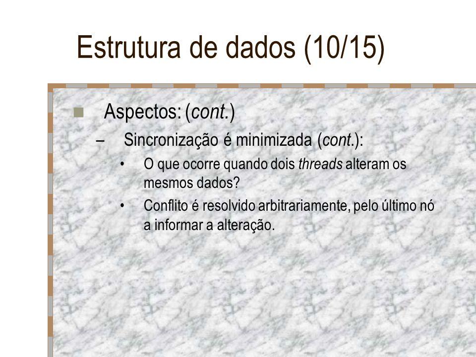 Estrutura de dados (10/15) Aspectos: ( cont. ) –Sincronização é minimizada ( cont.): O que ocorre quando dois threads alteram os mesmos dados? Conflit