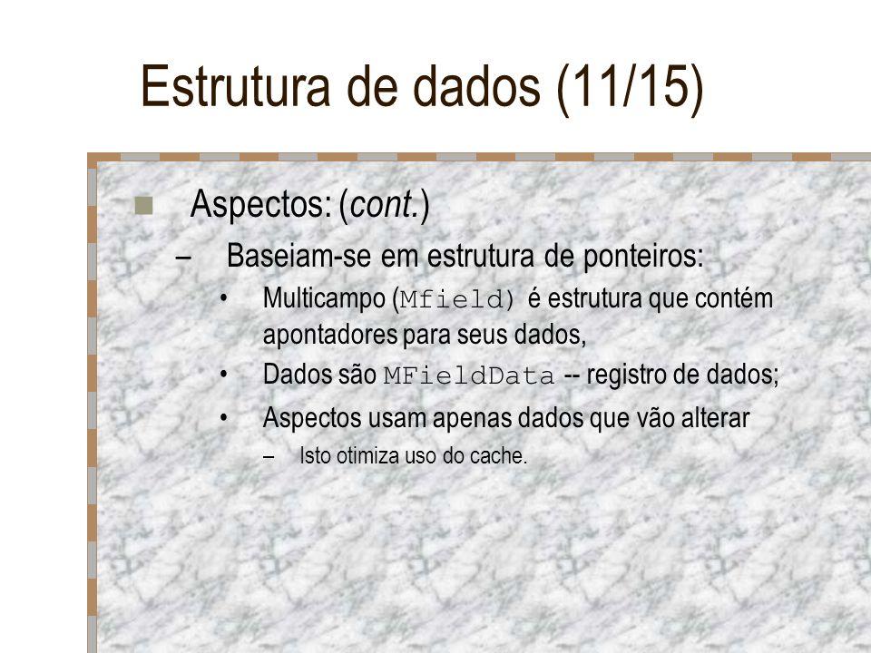 Estrutura de dados (11/15) Aspectos: ( cont. ) –Baseiam-se em estrutura de ponteiros: Multicampo ( Mfield) é estrutura que contém apontadores para seu