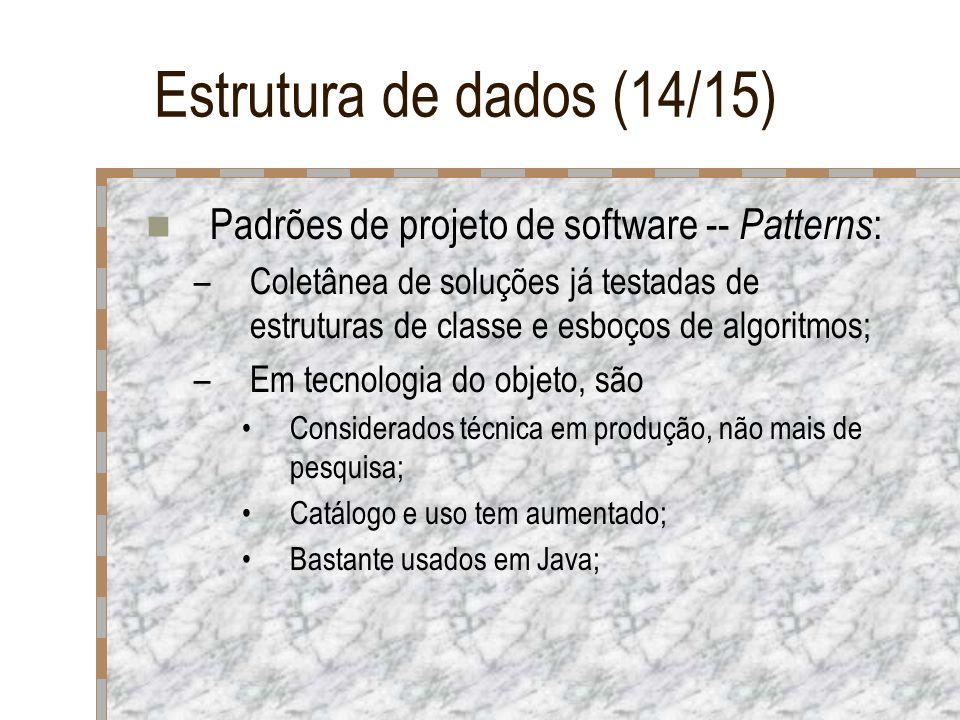 Estrutura de dados (14/15) Padrões de projeto de software -- Patterns : –Coletânea de soluções já testadas de estruturas de classe e esboços de algori