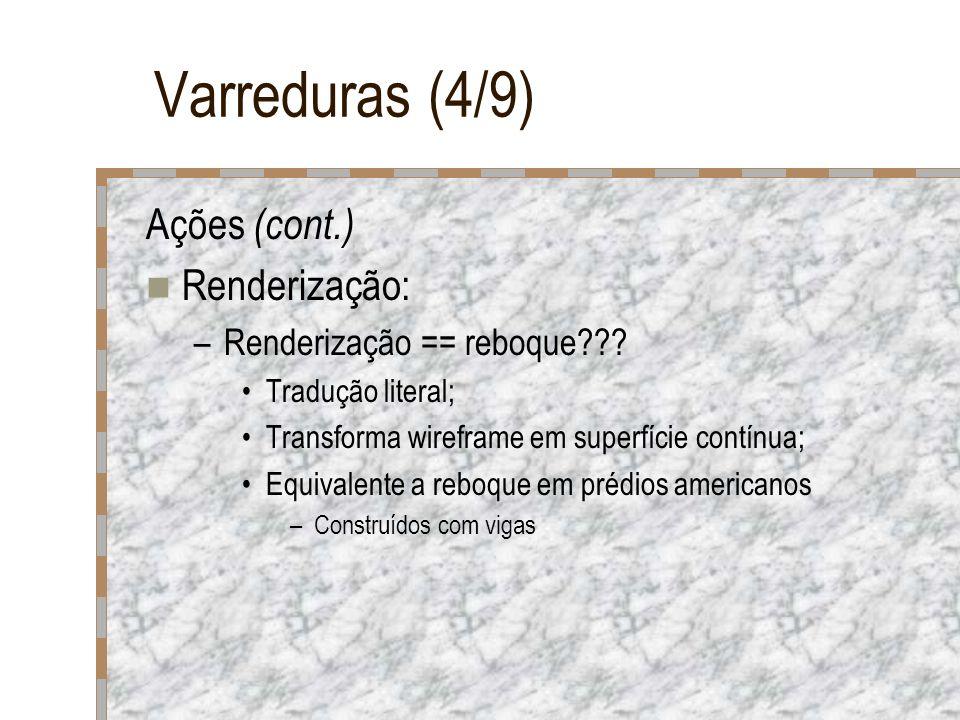 Varreduras (4/9) Ações (cont.) Renderização: –Renderização == reboque??? Tradução literal; Transforma wireframe em superfície contínua; Equivalente a