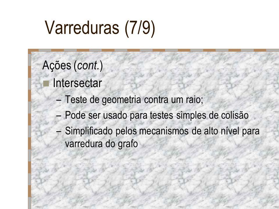 Varreduras (7/9) Ações ( cont. ) Intersectar –Teste de geometria contra um raio; –Pode ser usado para testes simples de colisão –Simplificado pelos me