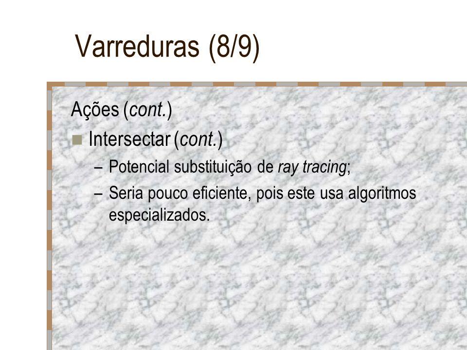Varreduras (8/9) Ações ( cont. ) Intersectar ( cont. ) –Potencial substituição de ray tracing ; –Seria pouco eficiente, pois este usa algoritmos espec