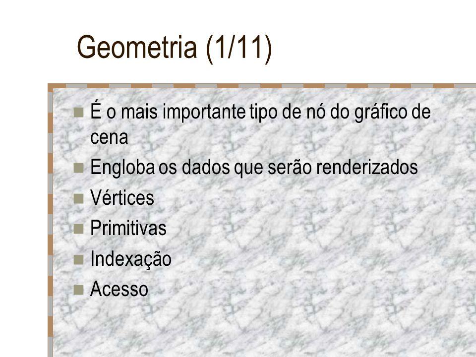 Geometria (1/11) É o mais importante tipo de nó do gráfico de cena Engloba os dados que serão renderizados Vértices Primitivas Indexação Acesso