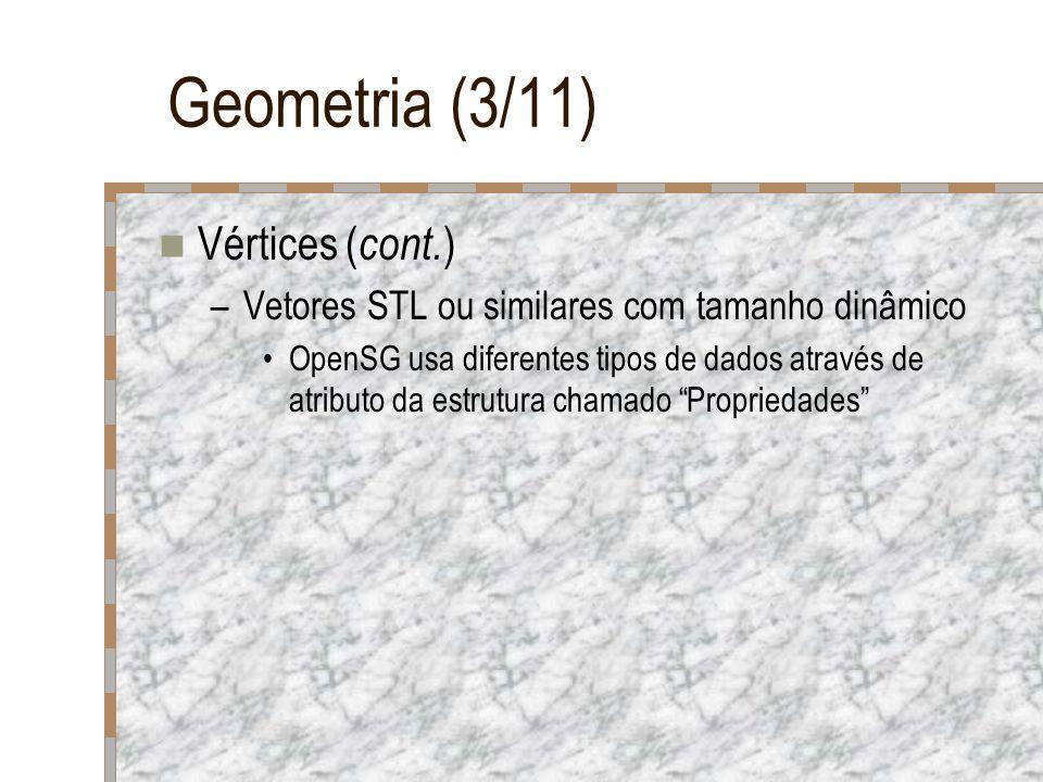 Geometria (3/11) Vértices ( cont. ) –Vetores STL ou similares com tamanho dinâmico OpenSG usa diferentes tipos de dados através de atributo da estrutu