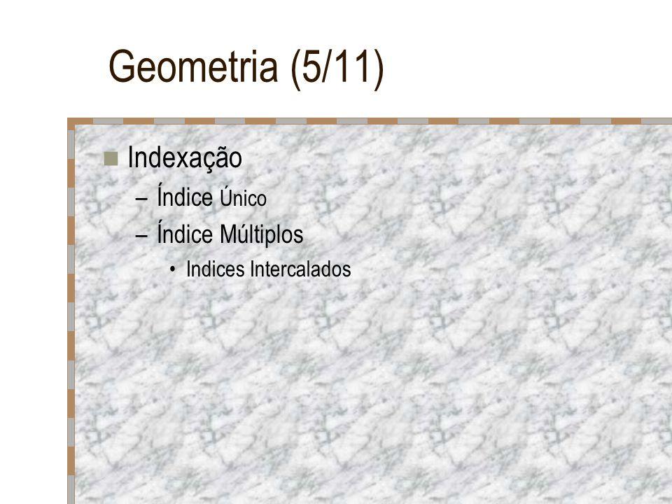 Geometria (5/11) Indexação –Índice Único –Índice Múltiplos Indices Intercalados