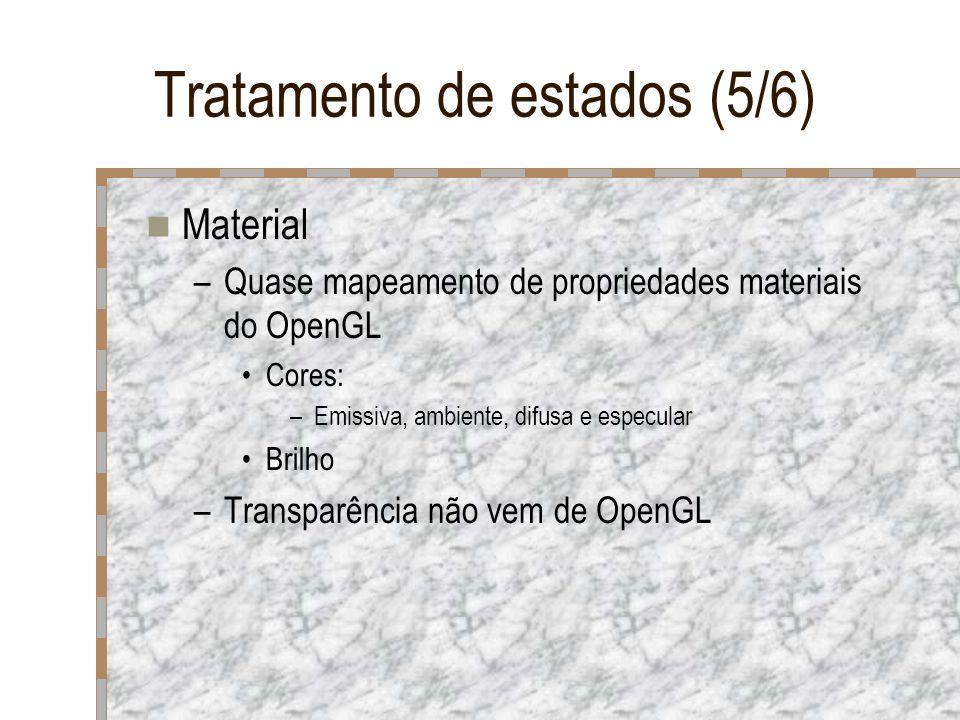 Tratamento de estados (5/6) Material –Quase mapeamento de propriedades materiais do OpenGL Cores: –Emissiva, ambiente, difusa e especular Brilho –Tran