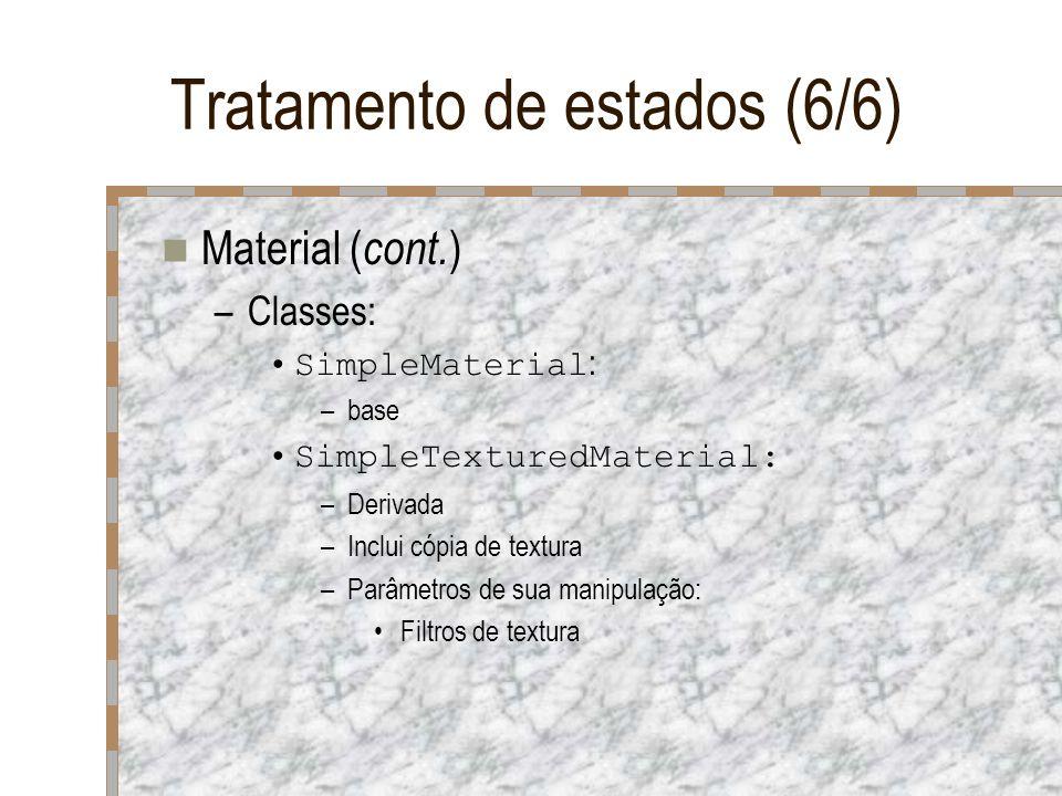 Tratamento de estados (6/6) Material ( cont. ) –Classes: SimpleMaterial : –base SimpleTexturedMaterial: –Derivada –Inclui cópia de textura –Parâmetros