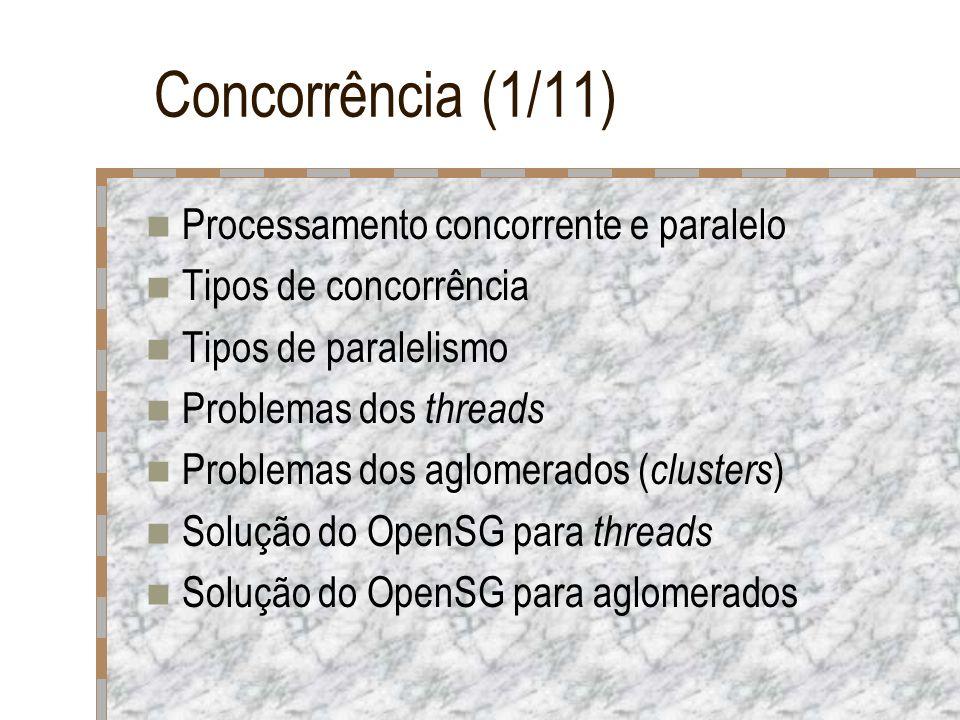 Concorrência (1/11) Processamento concorrente e paralelo Tipos de concorrência Tipos de paralelismo Problemas dos threads Problemas dos aglomerados (