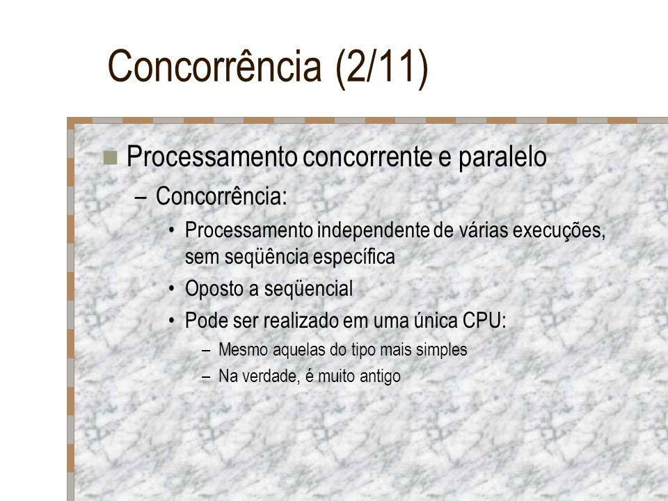 Concorrência (2/11) Processamento concorrente e paralelo –Concorrência: Processamento independente de várias execuções, sem seqüência específica Opost