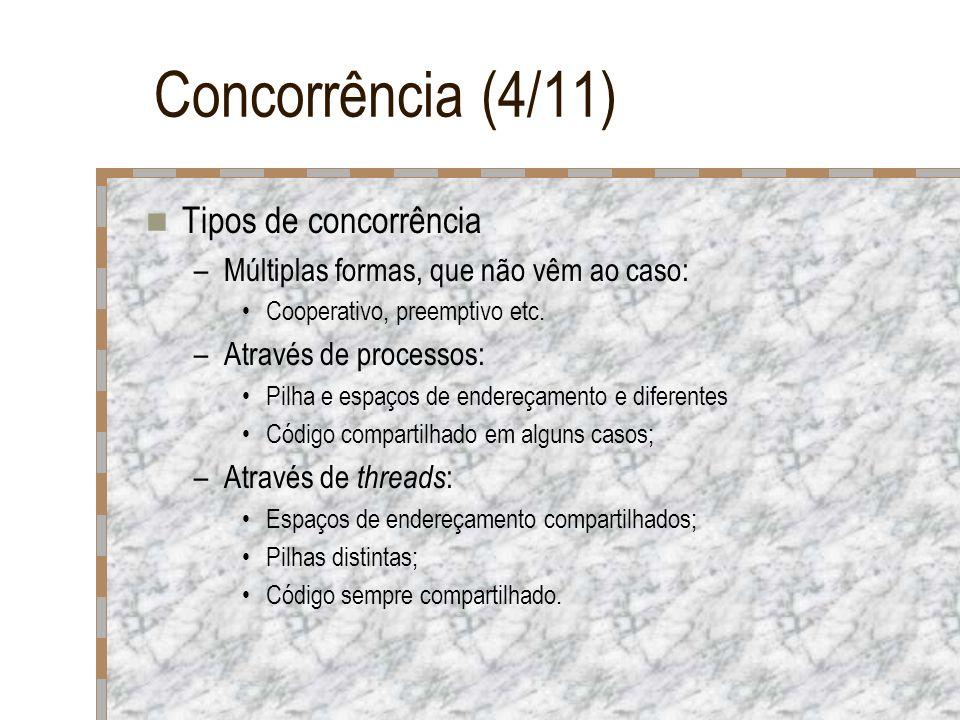 Concorrência (4/11) Tipos de concorrência –Múltiplas formas, que não vêm ao caso: Cooperativo, preemptivo etc. –Através de processos: Pilha e espaços