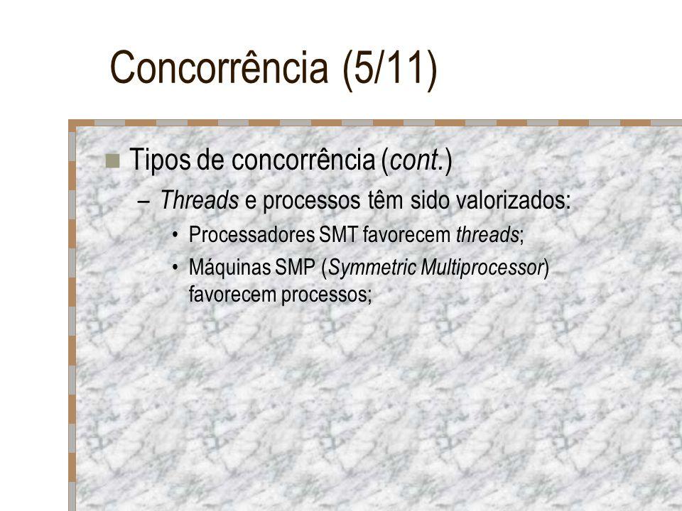 Concorrência (5/11) Tipos de concorrência ( cont. ) – Threads e processos têm sido valorizados: Processadores SMT favorecem threads ; Máquinas SMP ( S