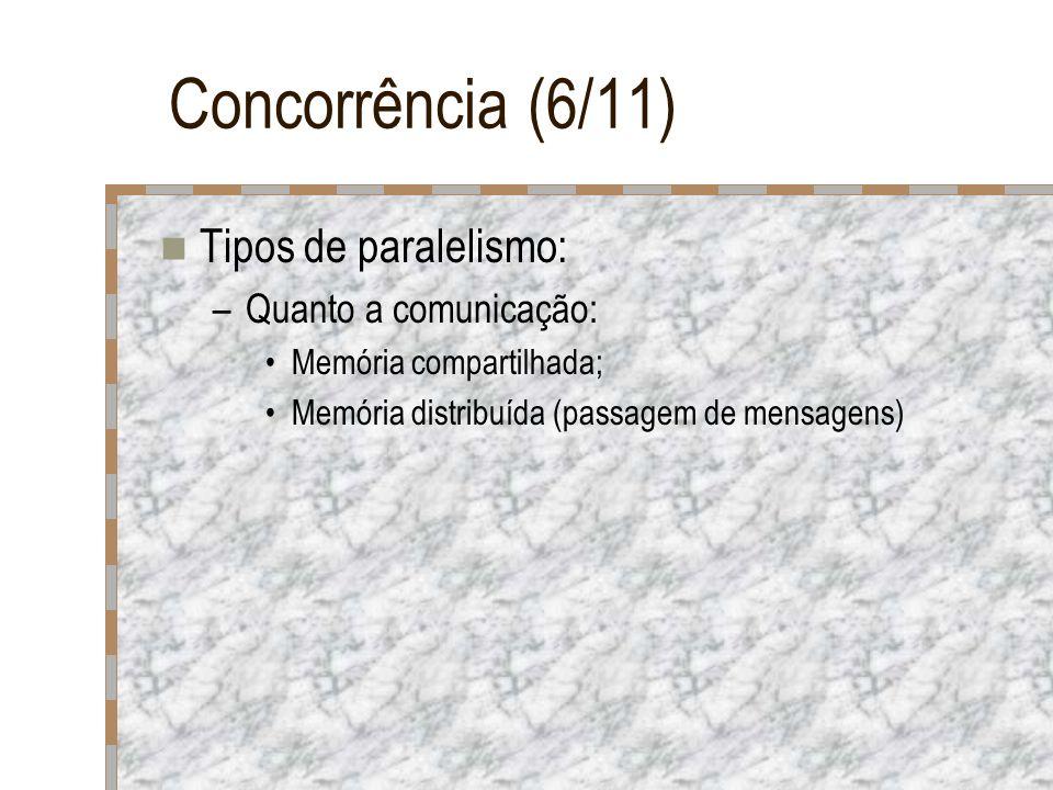 Concorrência (6/11) Tipos de paralelismo: –Quanto a comunicação: Memória compartilhada; Memória distribuída (passagem de mensagens)