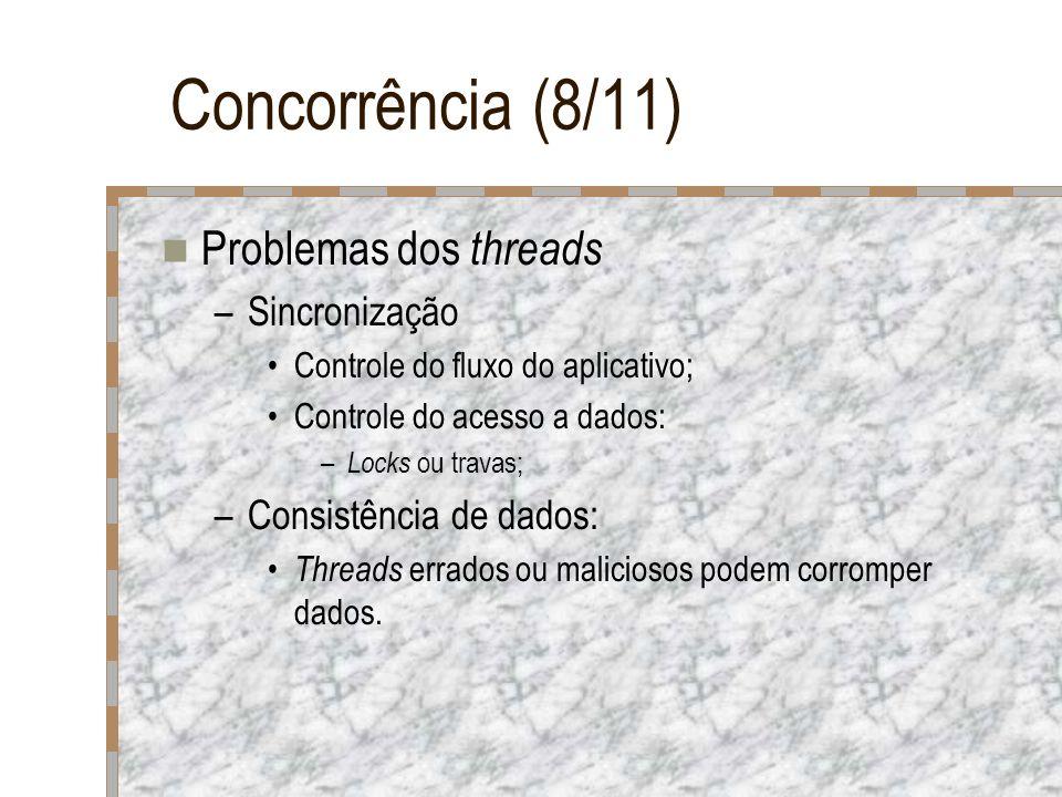 Concorrência (8/11) Problemas dos threads –Sincronização Controle do fluxo do aplicativo; Controle do acesso a dados: – Locks ou travas; –Consistência
