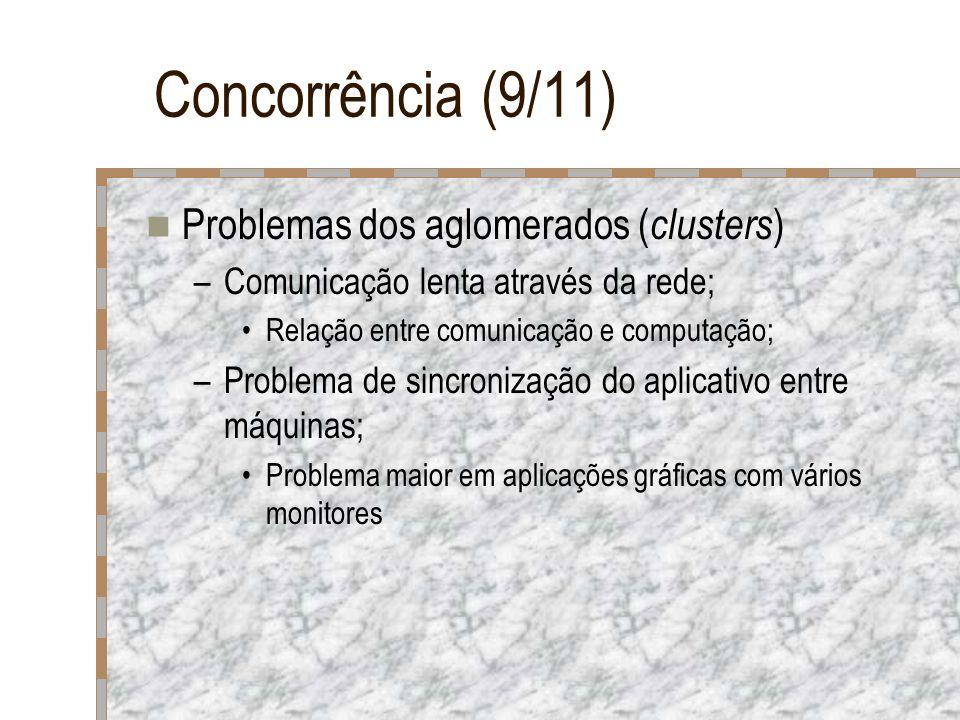 Concorrência (9/11) Problemas dos aglomerados ( clusters ) –Comunicação lenta através da rede; Relação entre comunicação e computação; –Problema de si