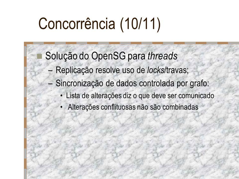 Concorrência (10/11) Solução do OpenSG para threads –Replicação resolve uso de locks /travas; –Sincronização de dados controlada por grafo: Lista de a