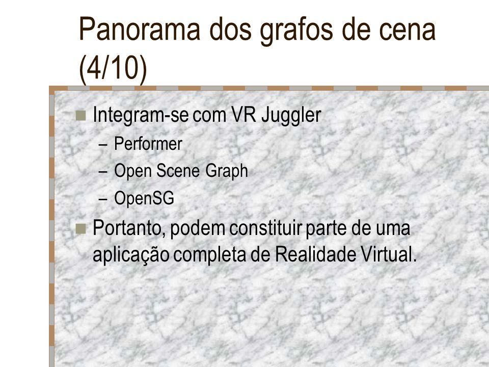 Panorama dos grafos de cena (4/10) Integram-se com VR Juggler –Performer –Open Scene Graph –OpenSG Portanto, podem constituir parte de uma aplicação c