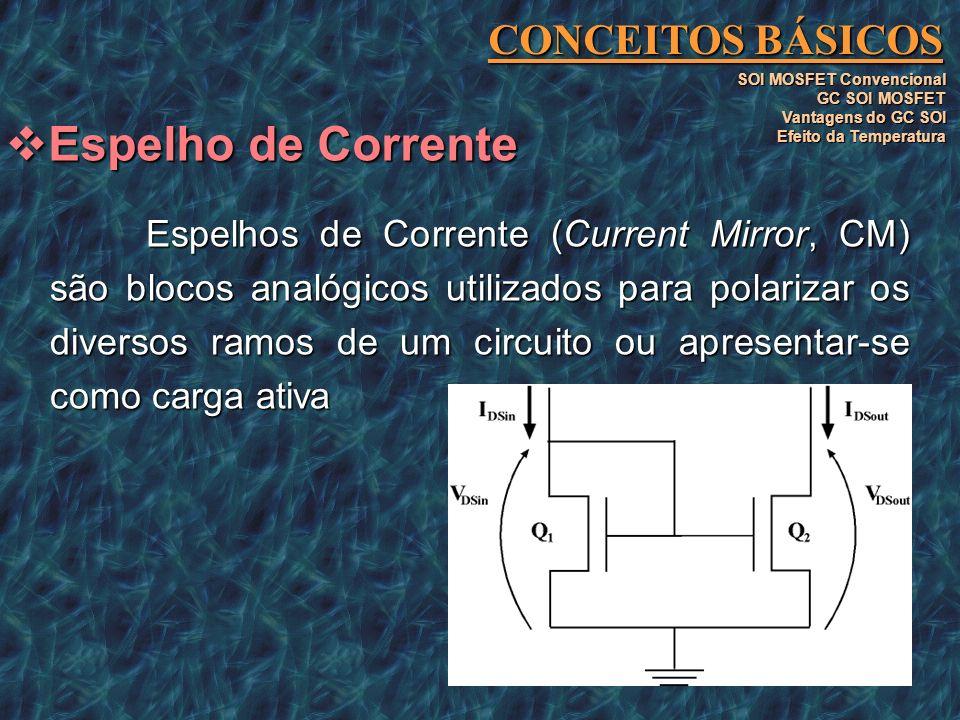 Espelhos de Corrente (Current Mirror, CM) são blocos analógicos utilizados para polarizar os diversos ramos de um circuito ou apresentar-se como carga