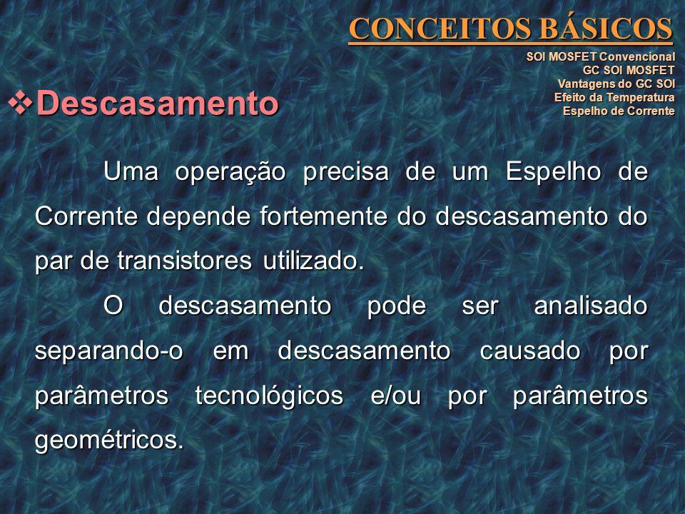 Uma operação precisa de um Espelho de Corrente depende fortemente do descasamento do par de transistores utilizado. O descasamento pode ser analisado
