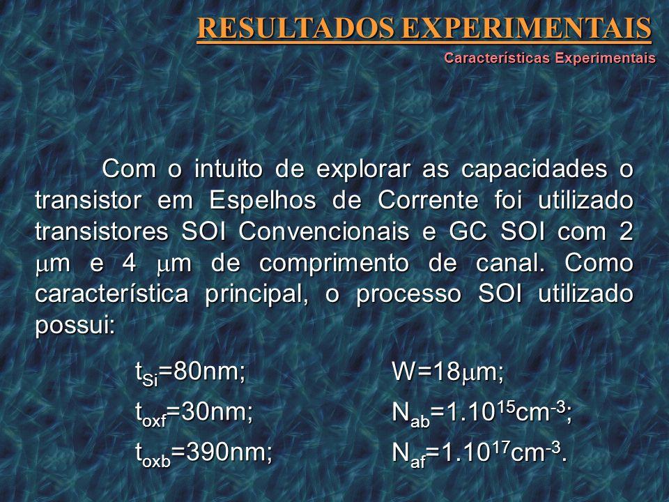 Com o intuito de explorar as capacidades o transistor em Espelhos de Corrente foi utilizado transistores SOI Convencionais e GC SOI com 2 m e 4 m de c