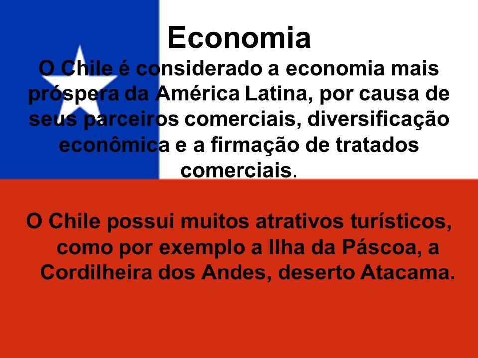 Economia O Chile é considerado a economia mais próspera da América Latina, por causa de seus parceiros comerciais, diversificação econômica e a firmaç