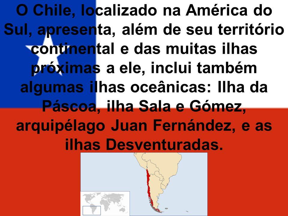O Chile, localizado na América do Sul, apresenta, além de seu território continental e das muitas ilhas próximas a ele, inclui também algumas ilhas oc