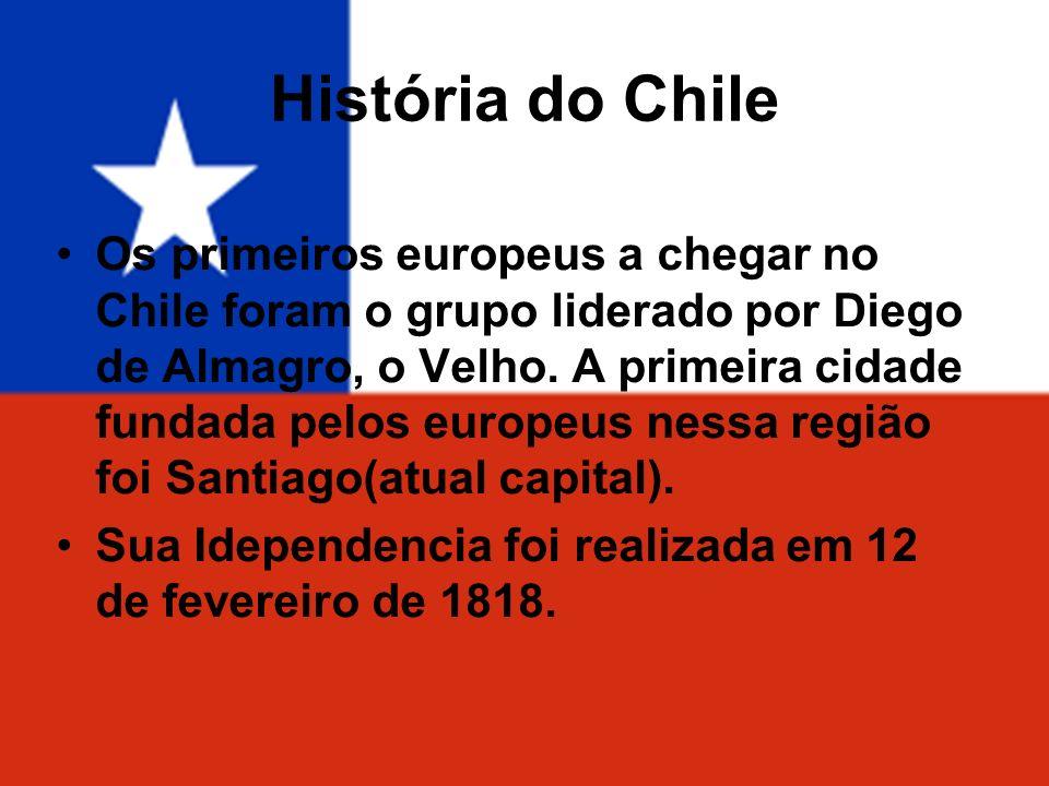 História do Chile Os primeiros europeus a chegar no Chile foram o grupo liderado por Diego de Almagro, o Velho. A primeira cidade fundada pelos europe