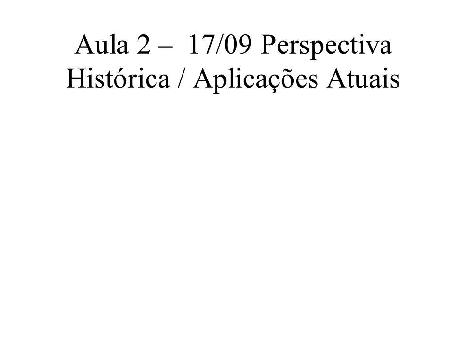 Aula 2 – 17/09 Perspectiva Histórica / Aplicações Atuais