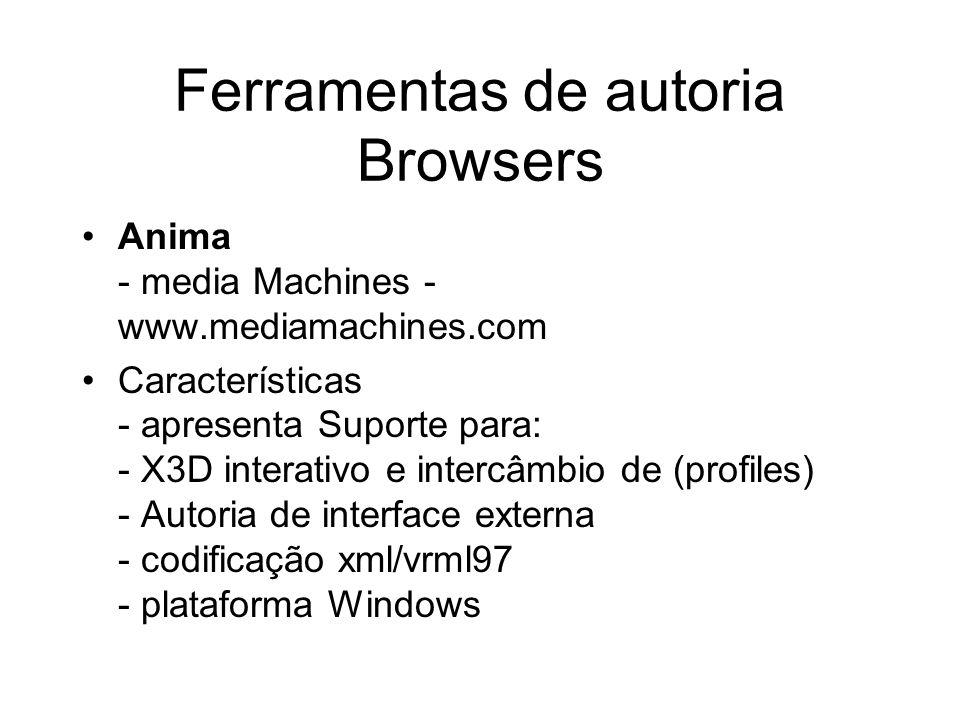 Ferramentas de autoria Browsers Anima - media Machines - www.mediamachines.com Características - apresenta Suporte para: - X3D interativo e intercâmbio de (profiles) - Autoria de interface externa - codificação xml/vrml97 - plataforma Windows
