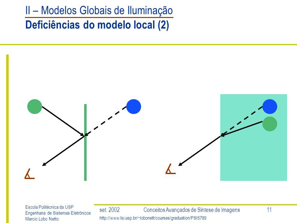 II – Modelos Globais de Iluminação Escola Politécnica da USP Engenharia de Sistemas Eletrônicos Marcio Lobo Netto http://www.lsi.usp.br/~lobonett/courses/graduation/PSI5789 set.