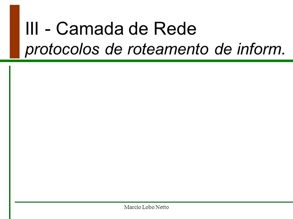 Marcio Lobo Netto III - Camada de Rede protocolos de roteamento de inform.
