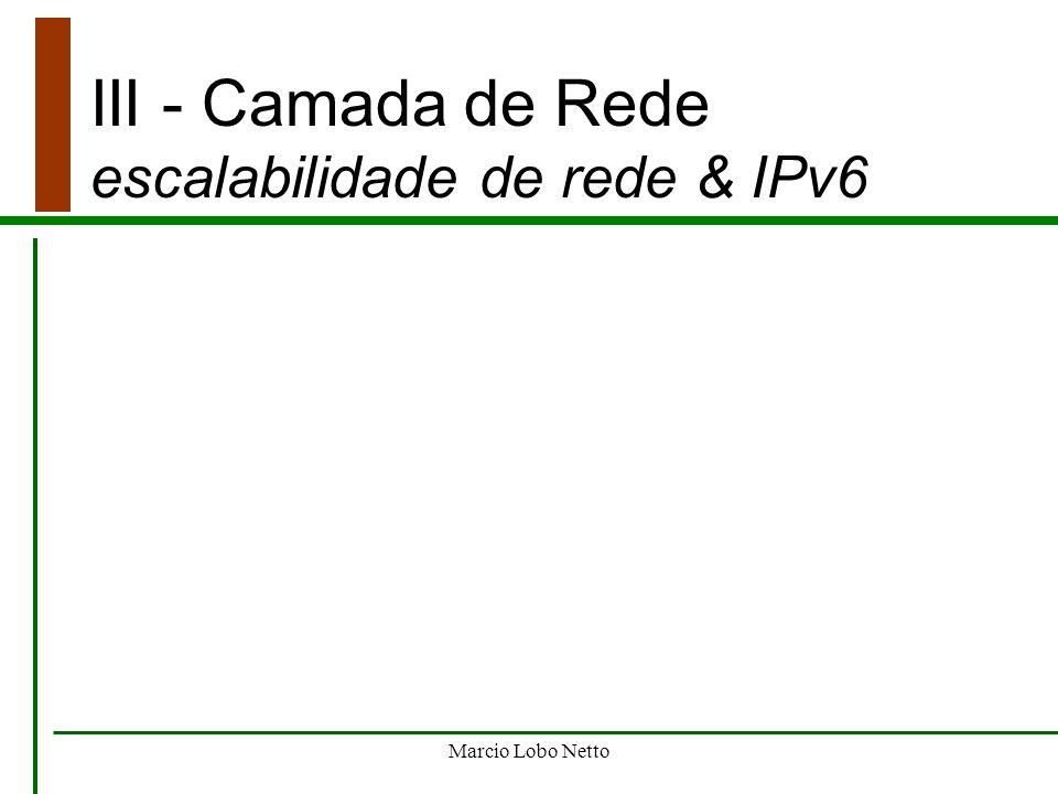 Marcio Lobo Netto III - Camada de Rede escalabilidade de rede & IPv6