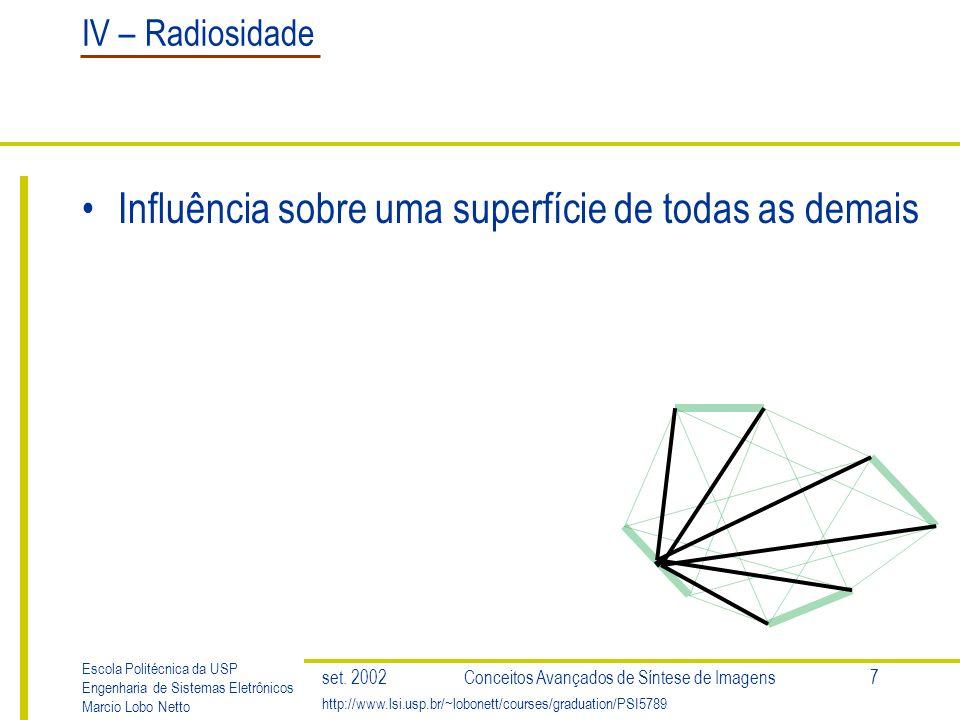 IV – Radiosidade Escola Politécnica da USP Engenharia de Sistemas Eletrônicos Marcio Lobo Netto http://www.lsi.usp.br/~lobonett/courses/graduation/PSI5789 set.