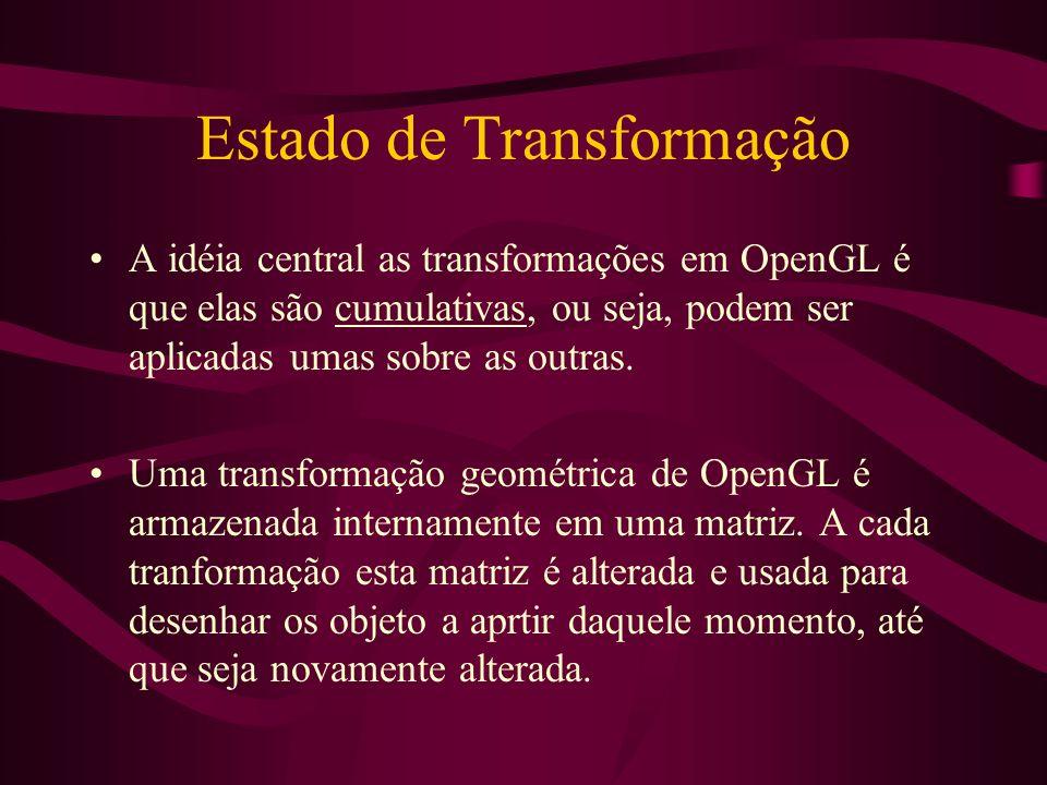 Estado de Transformação A idéia central as transformações em OpenGL é que elas são cumulativas, ou seja, podem ser aplicadas umas sobre as outras. Uma