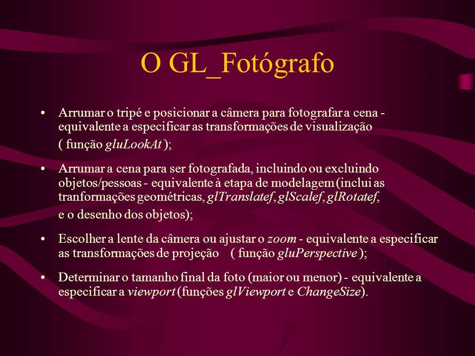O GL_Fotógrafo Arrumar o tripé e posicionar a câmera para fotografar a cena - equivalente a especificar as transformações de visualização ( função glu