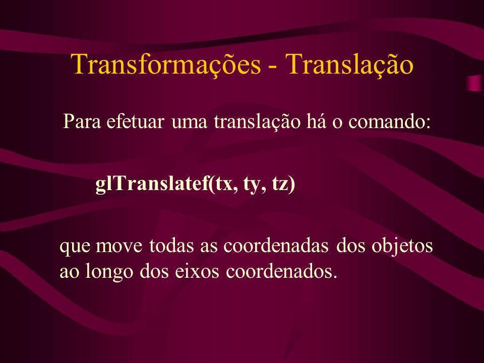 Transformações - Translação Para efetuar uma translação há o comando: glTranslatef(tx, ty, tz) que move todas as coordenadas dos objetos ao longo dos