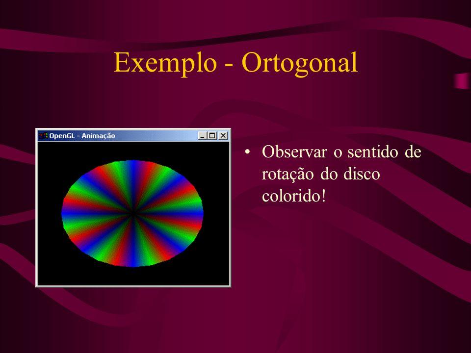 Exemplo - Ortogonal Observar o sentido de rotação do disco colorido!