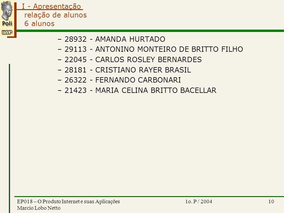 I - Apresentação 1o. P / 2004EP018 – O Produto Internet e suas Aplicações Marcio Lobo Netto 10 relação de alunos 6 alunos –28932 - AMANDA HURTADO –291