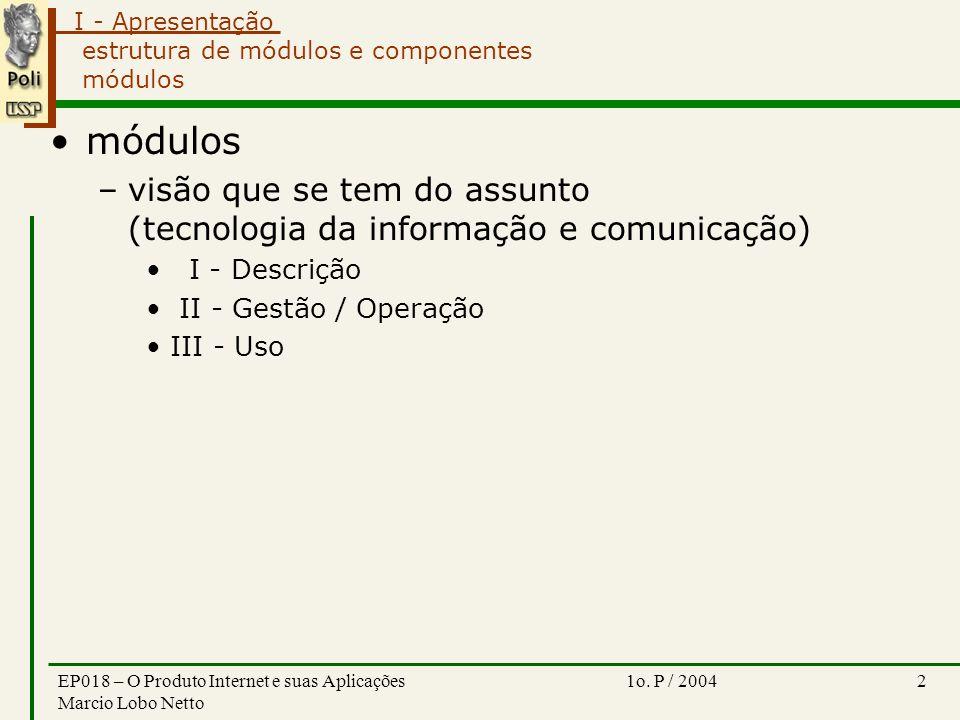 I - Apresentação 1o. P / 2004EP018 – O Produto Internet e suas Aplicações Marcio Lobo Netto 2 estrutura de módulos e componentes módulos módulos –visã