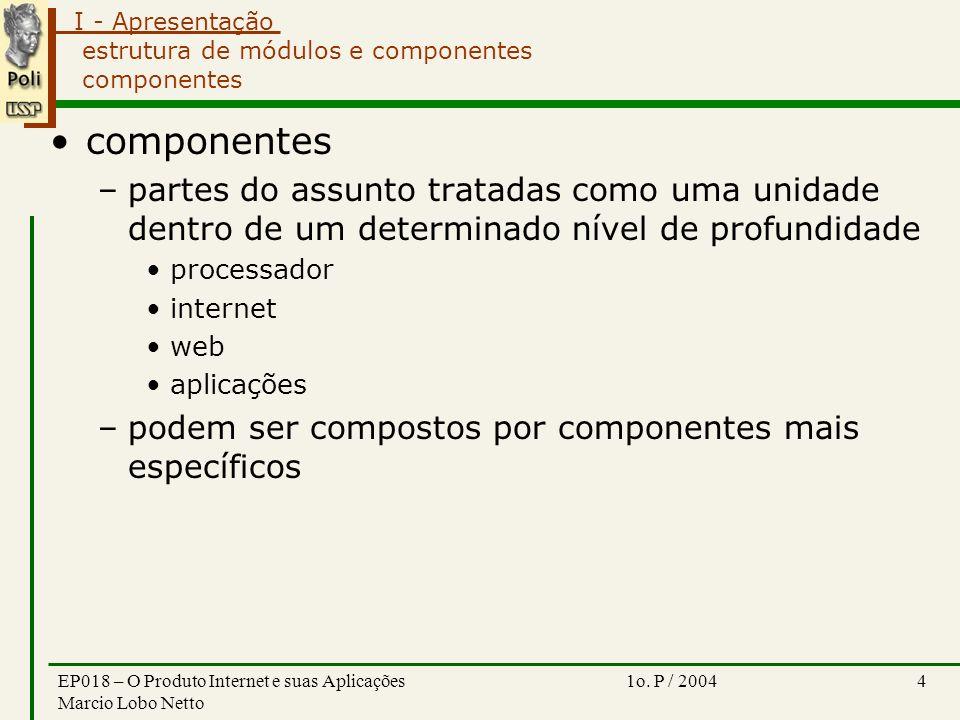 I - Apresentação 1o. P / 2004EP018 – O Produto Internet e suas Aplicações Marcio Lobo Netto 4 estrutura de módulos e componentes componentes component