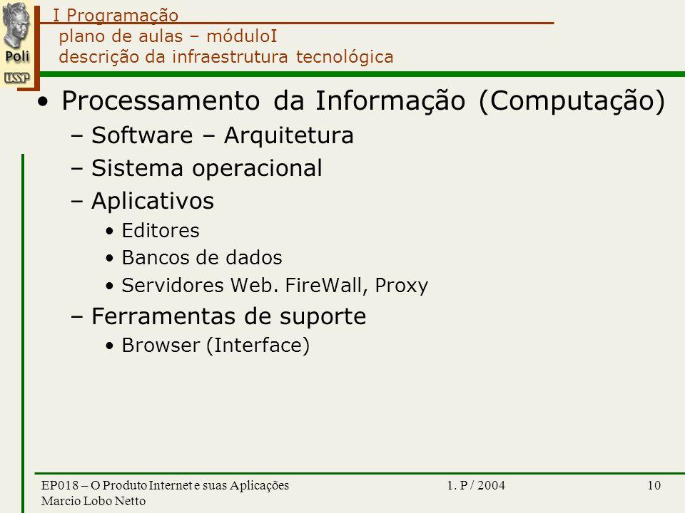 I Programação 1. P / 2004EP018 – O Produto Internet e suas Aplicações Marcio Lobo Netto 10 plano de aulas – móduloI descrição da infraestrutura tecnol