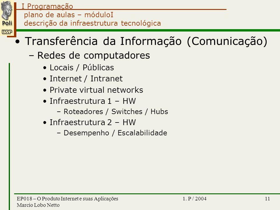 I Programação 1. P / 2004EP018 – O Produto Internet e suas Aplicações Marcio Lobo Netto 11 plano de aulas – móduloI descrição da infraestrutura tecnol